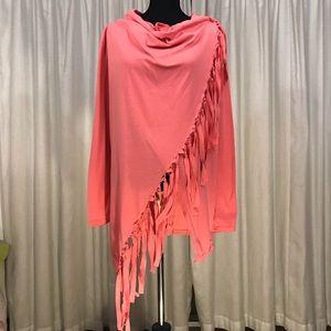 Hualan Pink Boho Wrap Poncho with Fringe XL